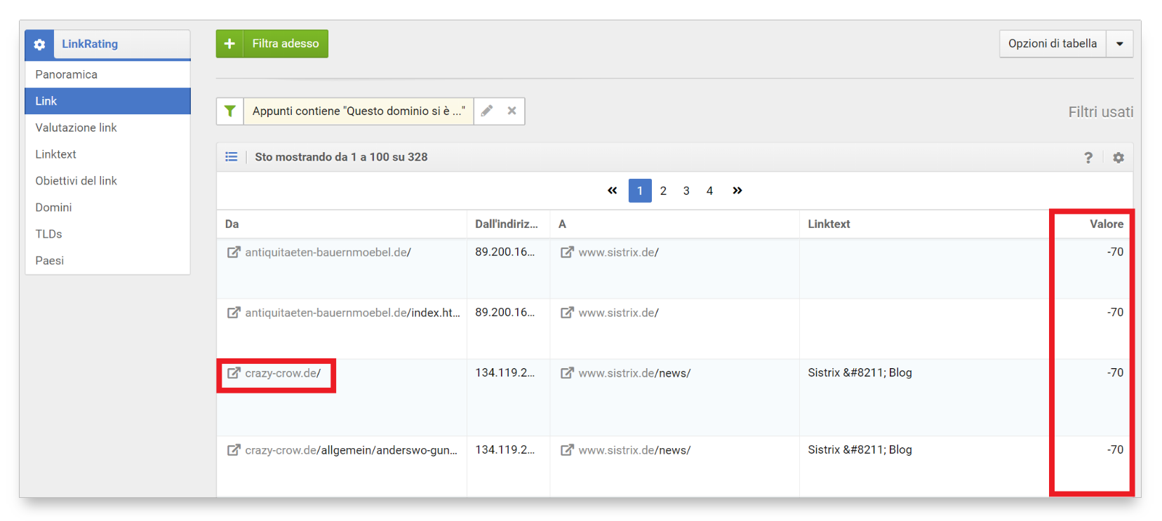 filtro link per progetto linkrating