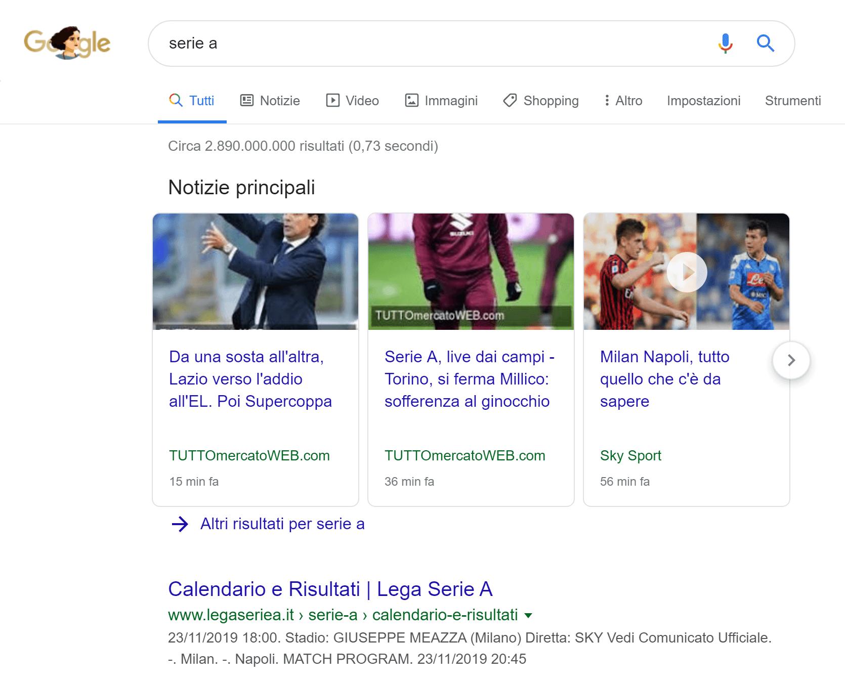 Risultati di Google News nelle SERP desktop