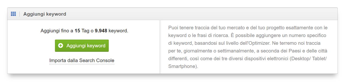 """Per aggiungere le keyword in un progetto Optimizer bisogna andare nelle impostazioni e poi su """"Aggiungi Keyword"""""""
