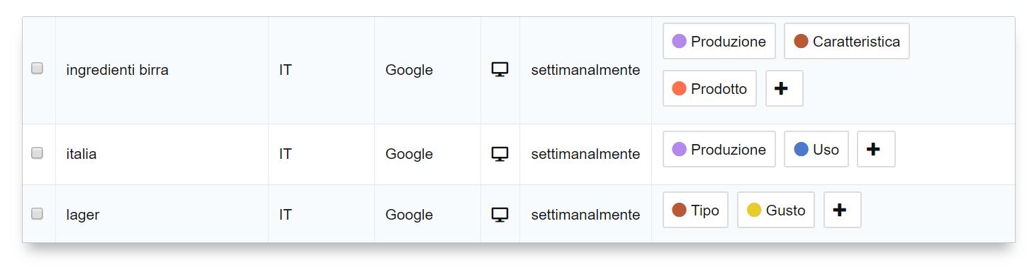 Dettaglio keyword aggiunte: tag suddivisi per colore nell'Optimizer