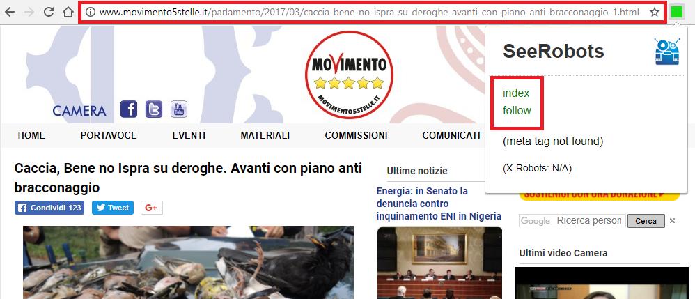 """URL http://www.movimento5stelle.it/parlamento/2017/03/caccia-bene-no-ispra-su-deroghe-avanti-con-piano-anti-bracconaggio-1.html per la keyword """"no caccia"""""""