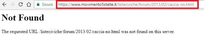 Errore 404: not found. Il Vecchio URL non è reindirizzato al nuovo