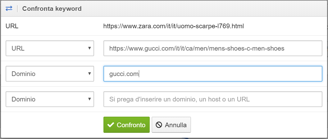 È possibile confrontare anche URL e domini tra loro