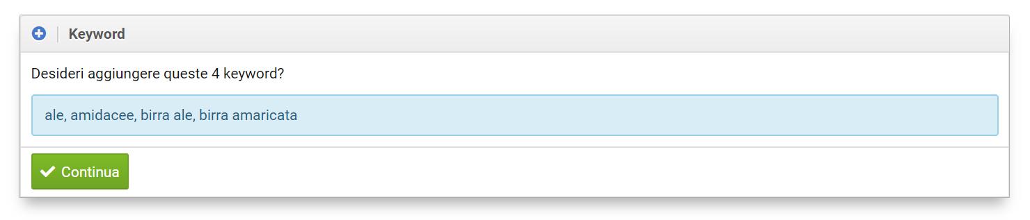 Keyword aggiunte al progetto Optimizer