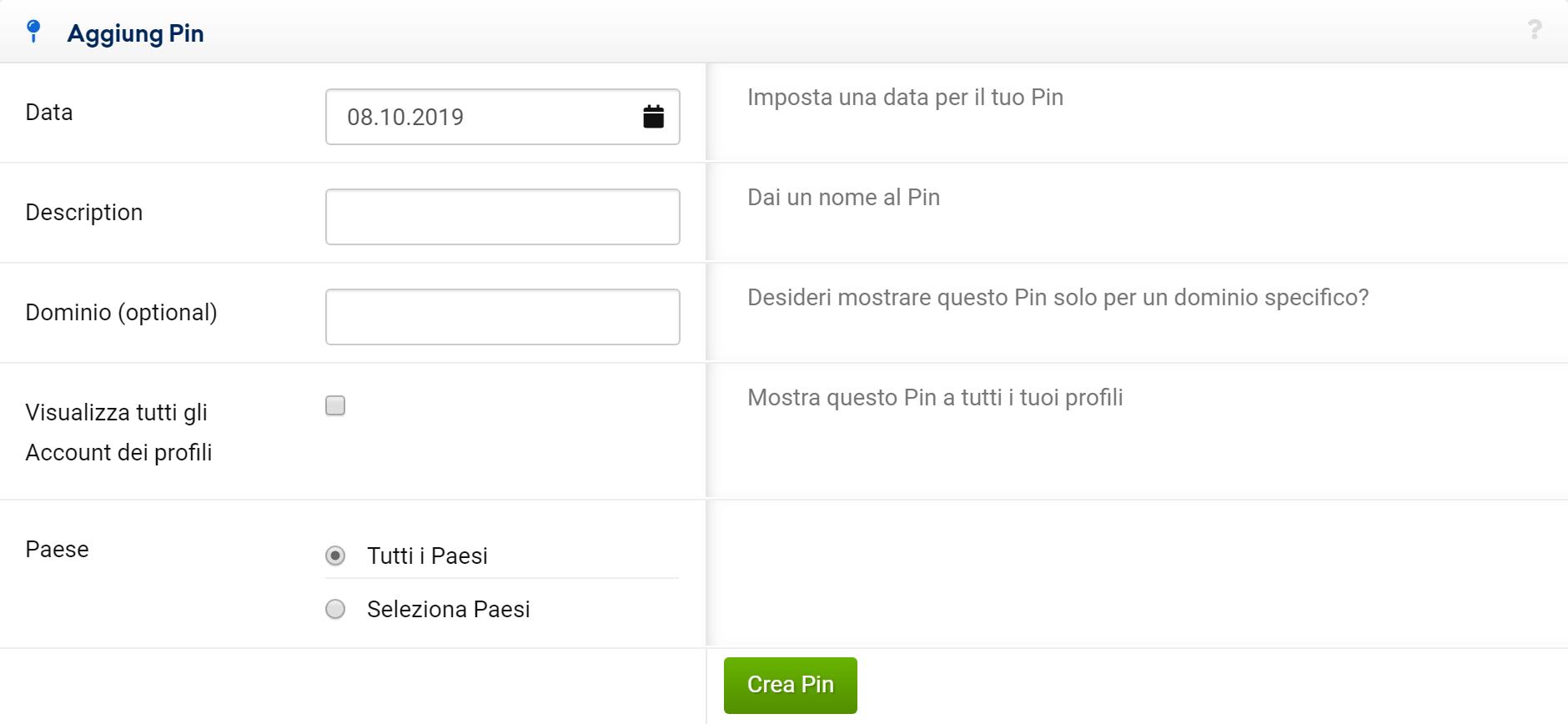 Finestra di input per aggiungere un nuovo pin nel Toolbox SISTRIX