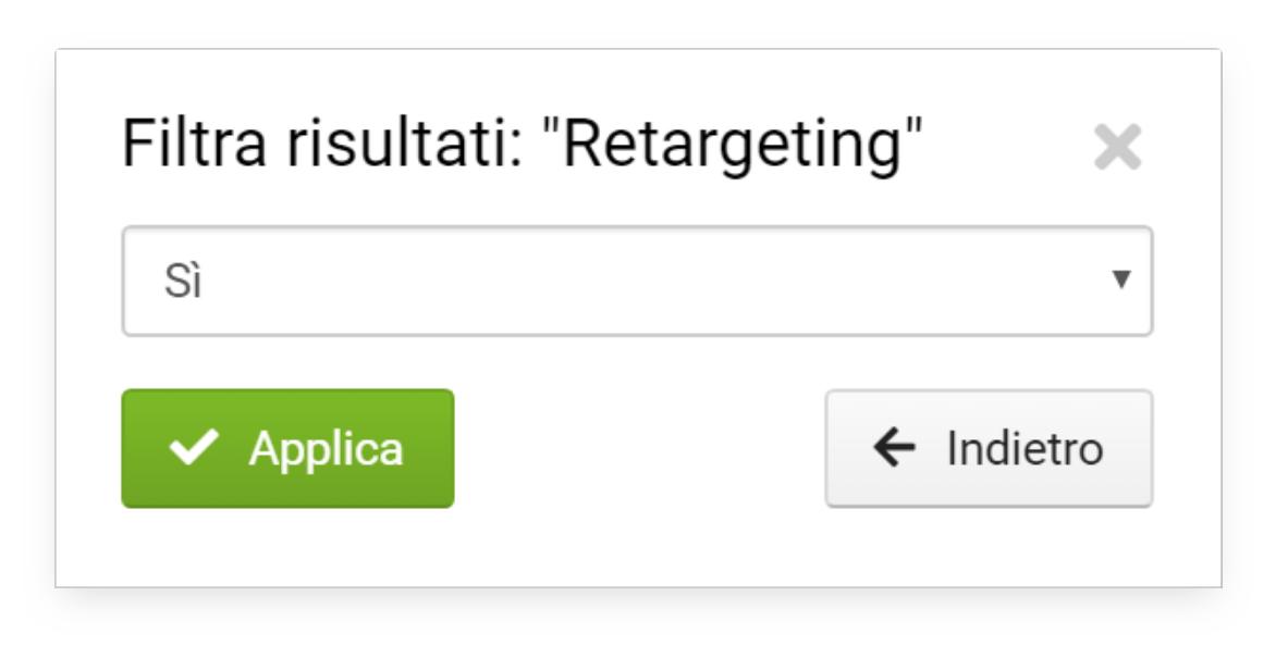 Filtro per visualizzare le Ads con retargeting