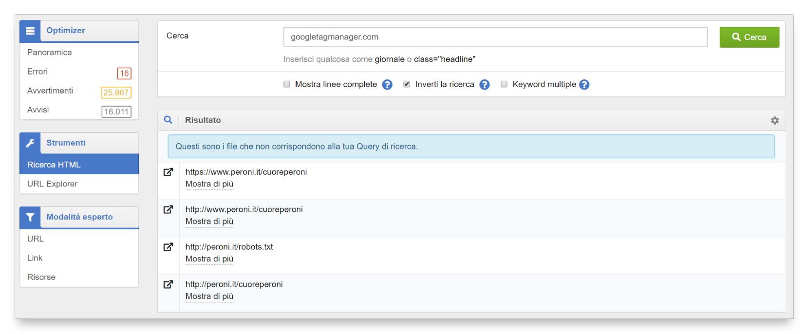 Ricerca html invertita nell'Optimizer