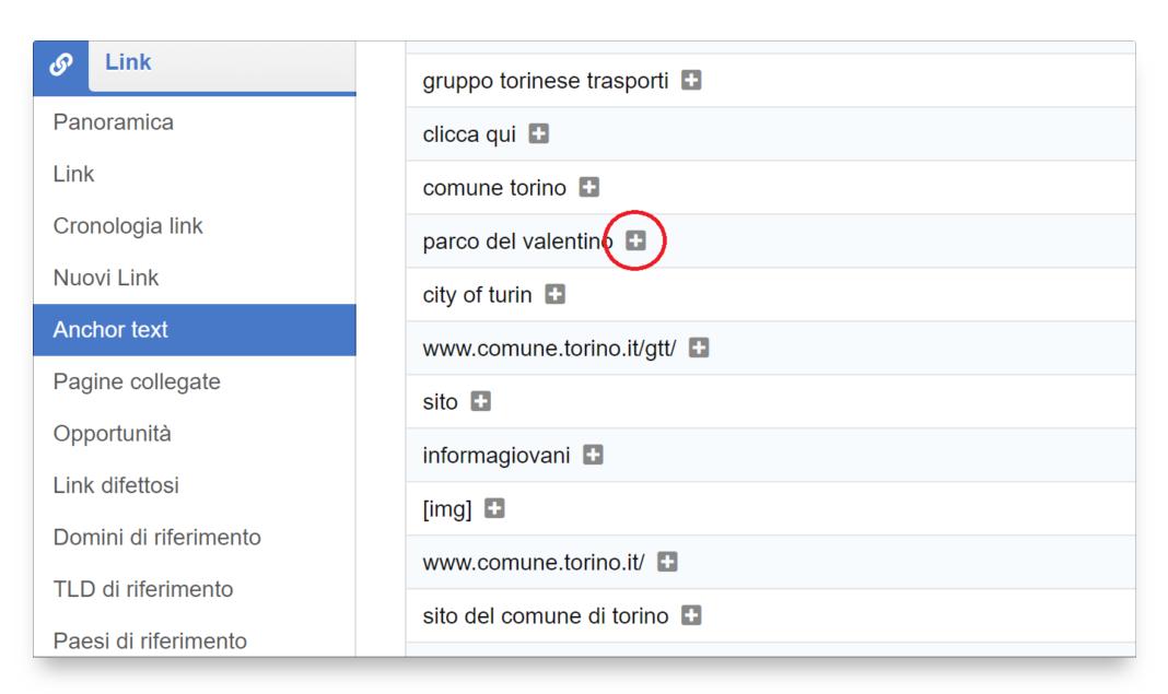 """Cliccando sul simbolo """"+"""", posto vicino al testo di link, verranno mostrati tutti i backlink riferiti a quell'Anchor text."""