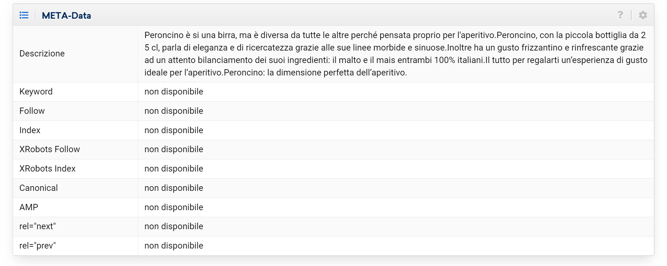 Meta dati nell'URL explorer