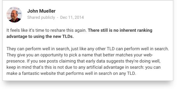 Questo tweet di John Mueller sottolinea che non esiste una correlazione tra un determinato TLD e un buon posizionamento su Google