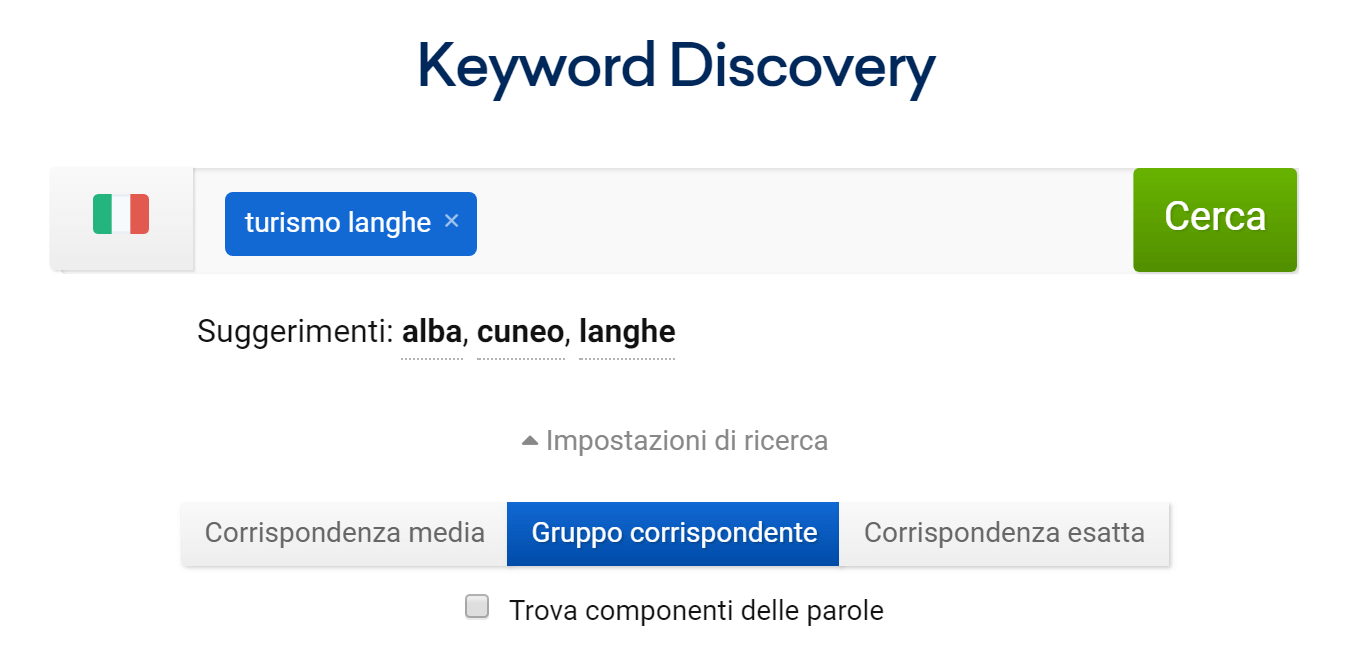 Tool Keyword Discovery nel Toolbox SISTRIX