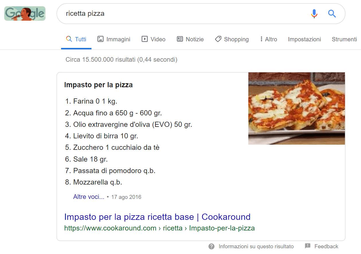 """Esempio di list snippet per la query """"ricetta pizza"""""""