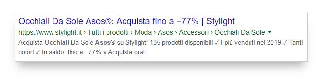 """Meta-description ottimale per la keyword """"asos occhiali"""""""
