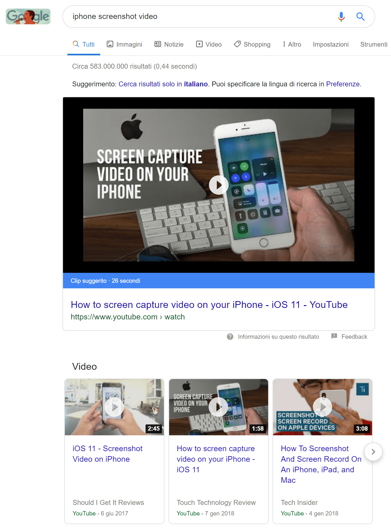 "Esempio di video snippet per la query ""iphone screenshot video"""