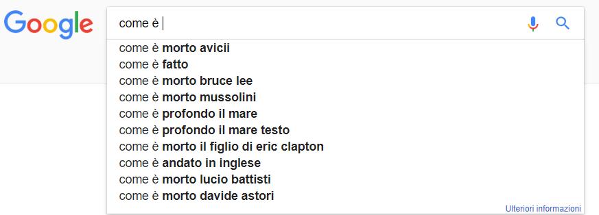 esempio Google Suggest