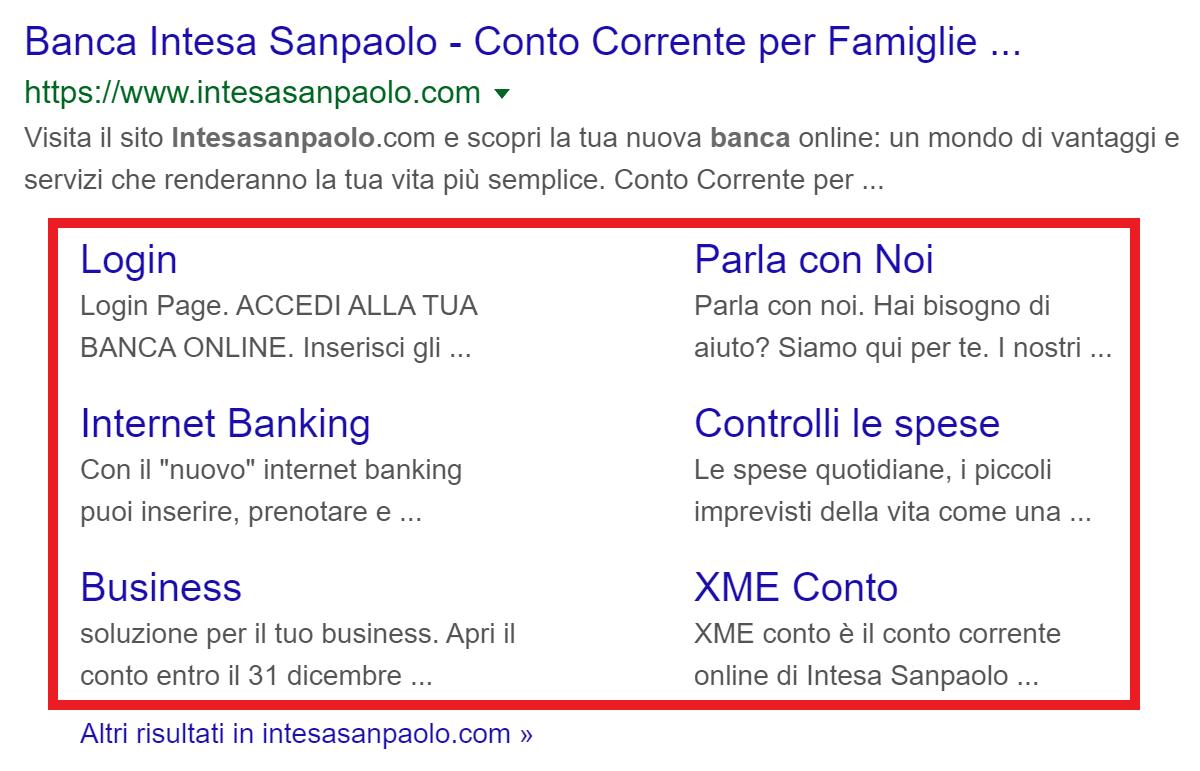 """Expanded sitelinks (marcati in rosso) per la query di ricerca """"Banca intesa"""""""