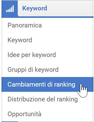 """Sezione """"Cambiamenti di ranking"""" nel Toolbox SISTRIX"""
