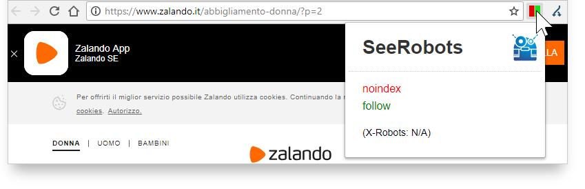 Estensione SeeRobots - analisi del sito zalando.it