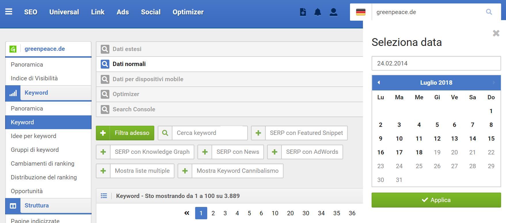 Selezionare la data nelle tabelle del Toolbox SISTRIX
