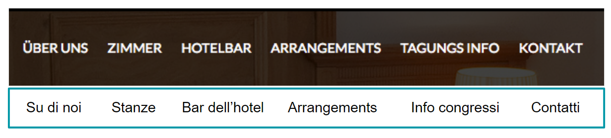 Menù di navigazione principale del sito di un hotel