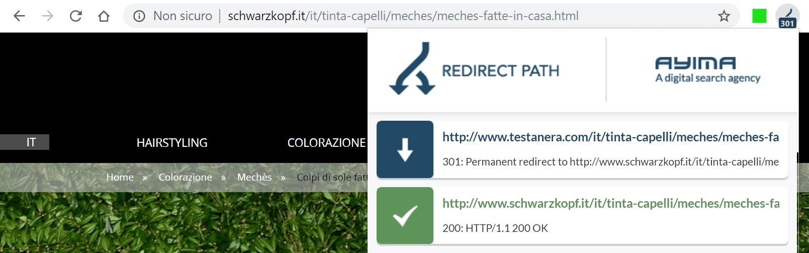 Il Plugin Ayima Redirect Path mostra i codici di stato di una pagina web