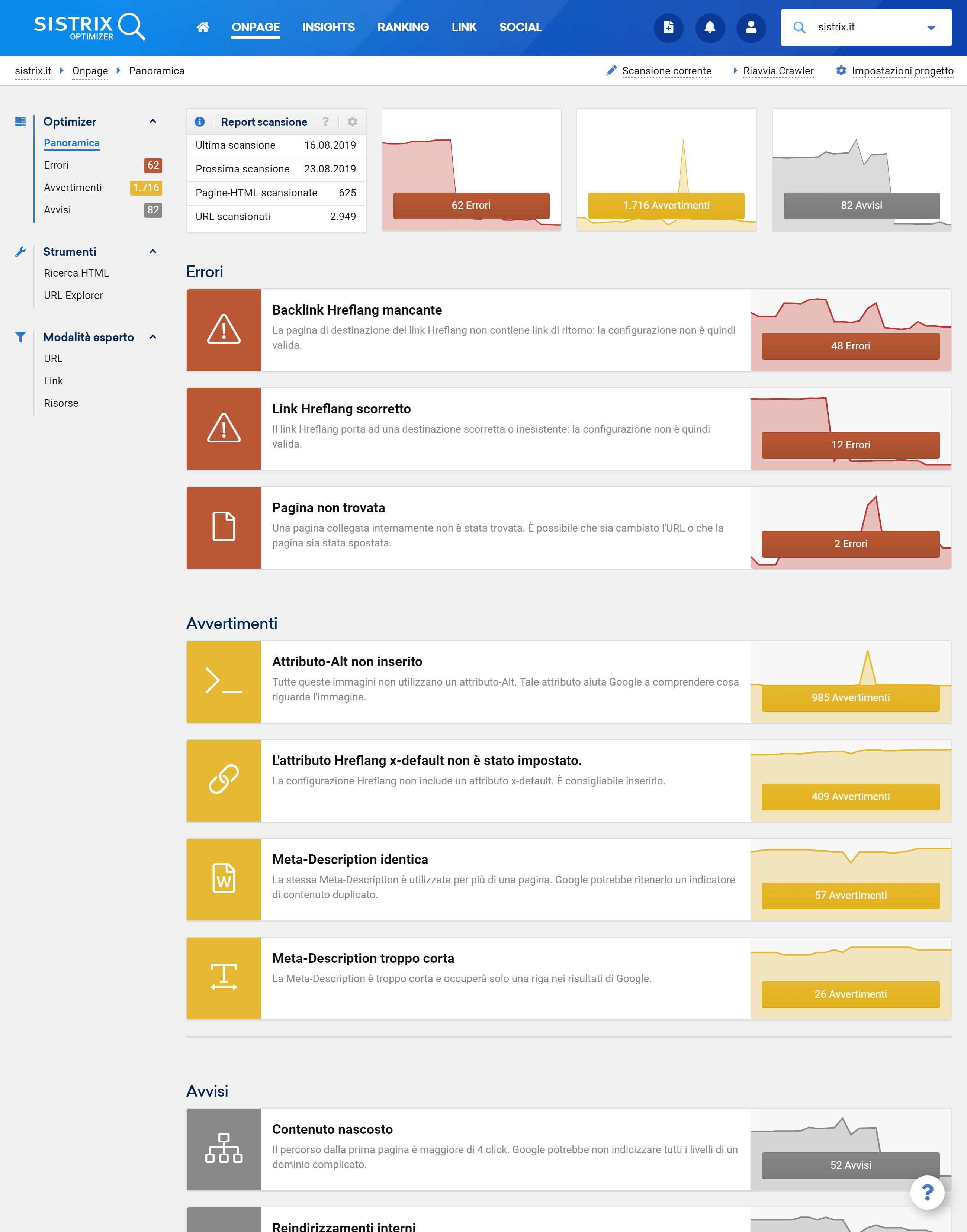 Sezione Onpage dell'Optimizer SISTRIX: errori, avvertimenti e avvisi di un progetto