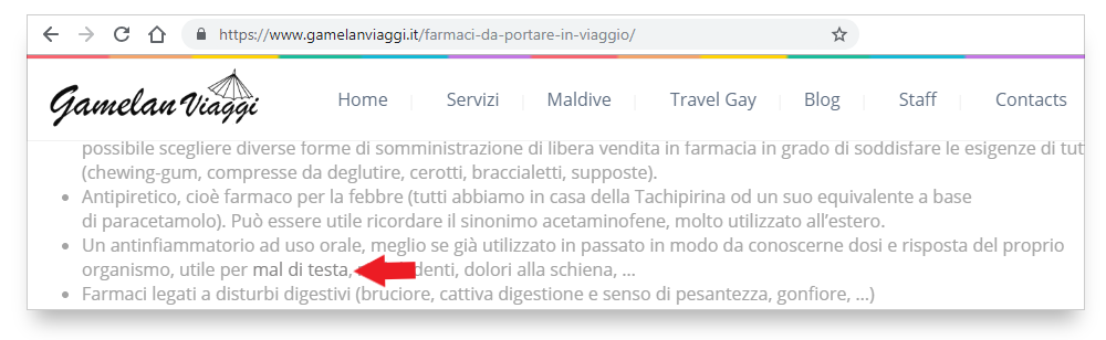 Secondo esempio di link difficile da individuare nel testo di farmacoecura.it
