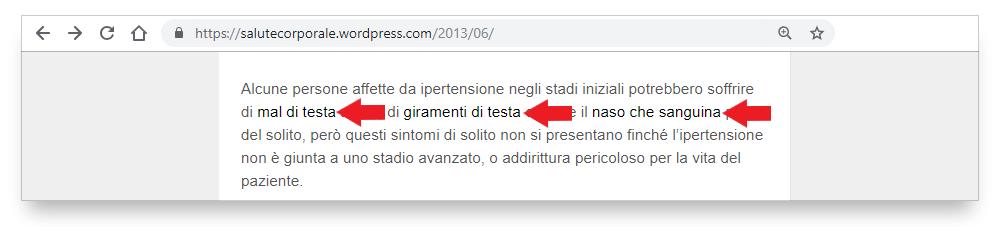 Quarto esempio di Link difficile da individuare nel testo di farmacoecura.it