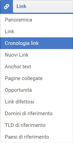Menù cronologia link nel modulo Link del Toolbox SISTRIX