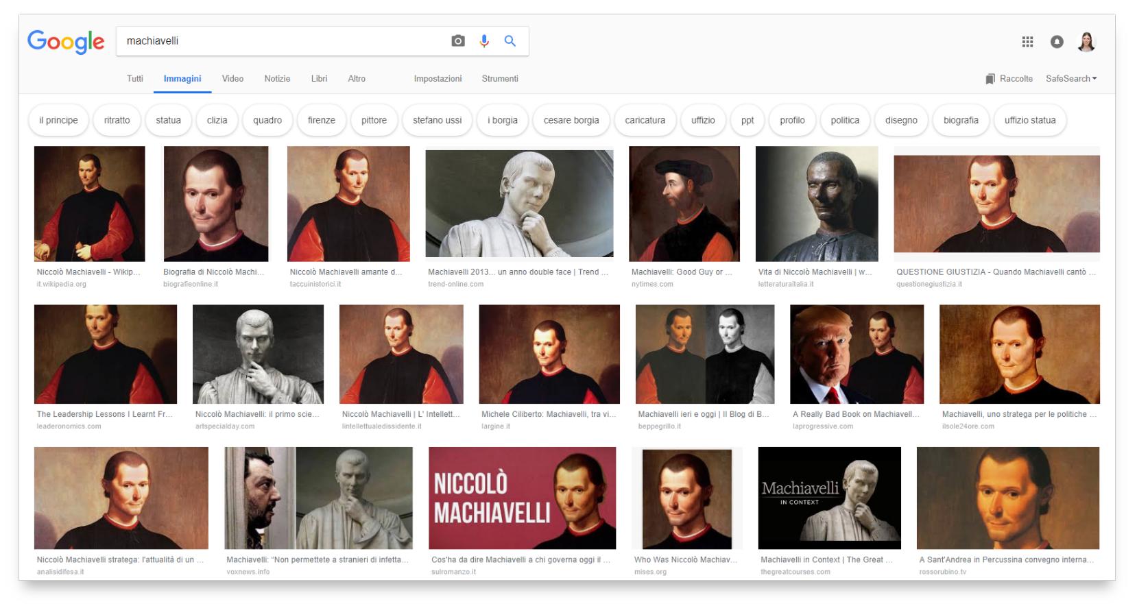 Ricerca su Google desktop per Machiavelli: formato di preferenza orizzontale.