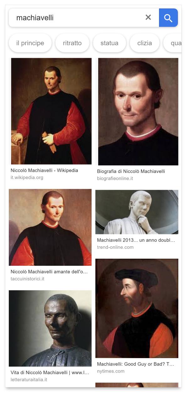 Ricerca su Google mobile per Machiavelli: formato di preferenza verticale.