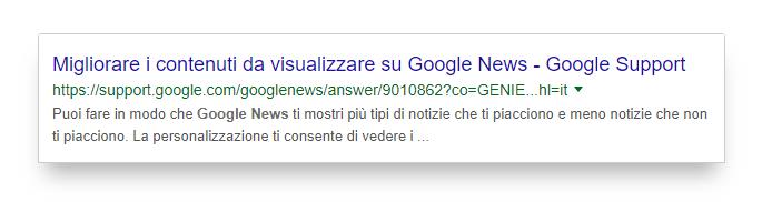 Title ottimizzato di Google Support