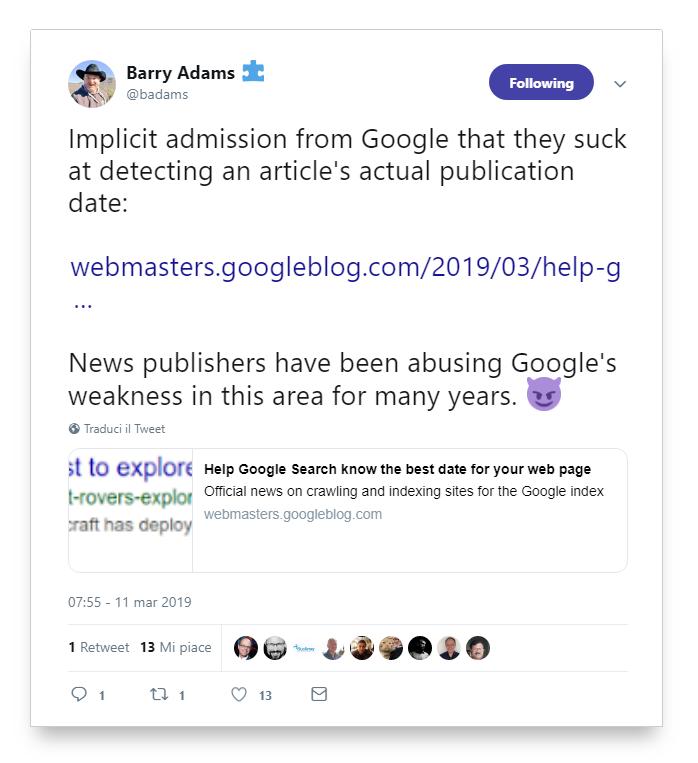 Tweet de Barry Adams sobre la fecha en artículos según Google