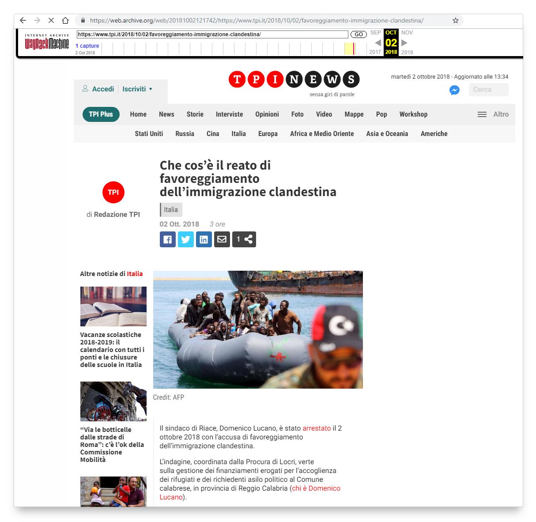 Gli articoli del 26 febbraio 2019 e del 2 ottobre 2018 mostrano lo stesso contenuto