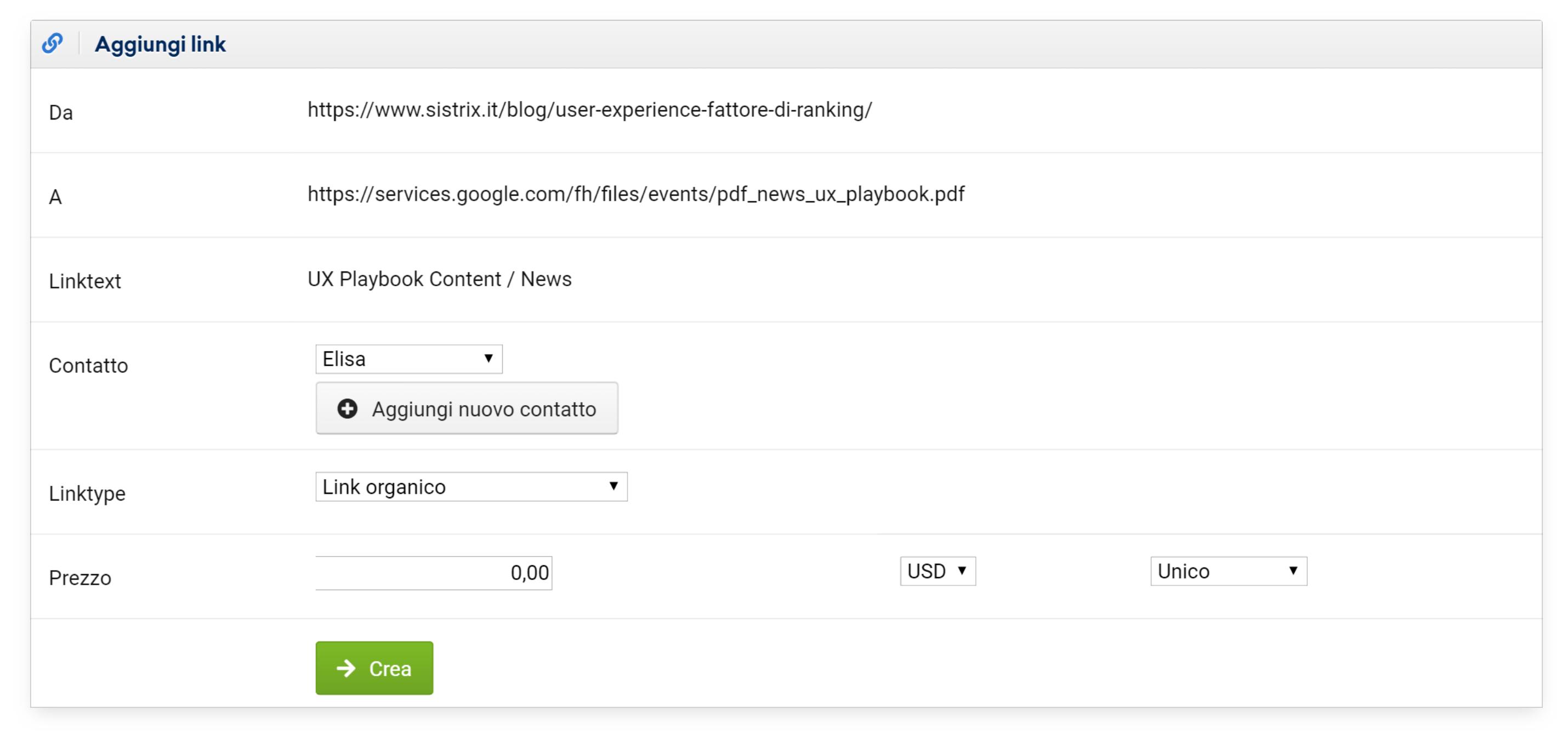 Opzioni per aggiungere un link per Linkmanager nel Toolbox SISTRIX