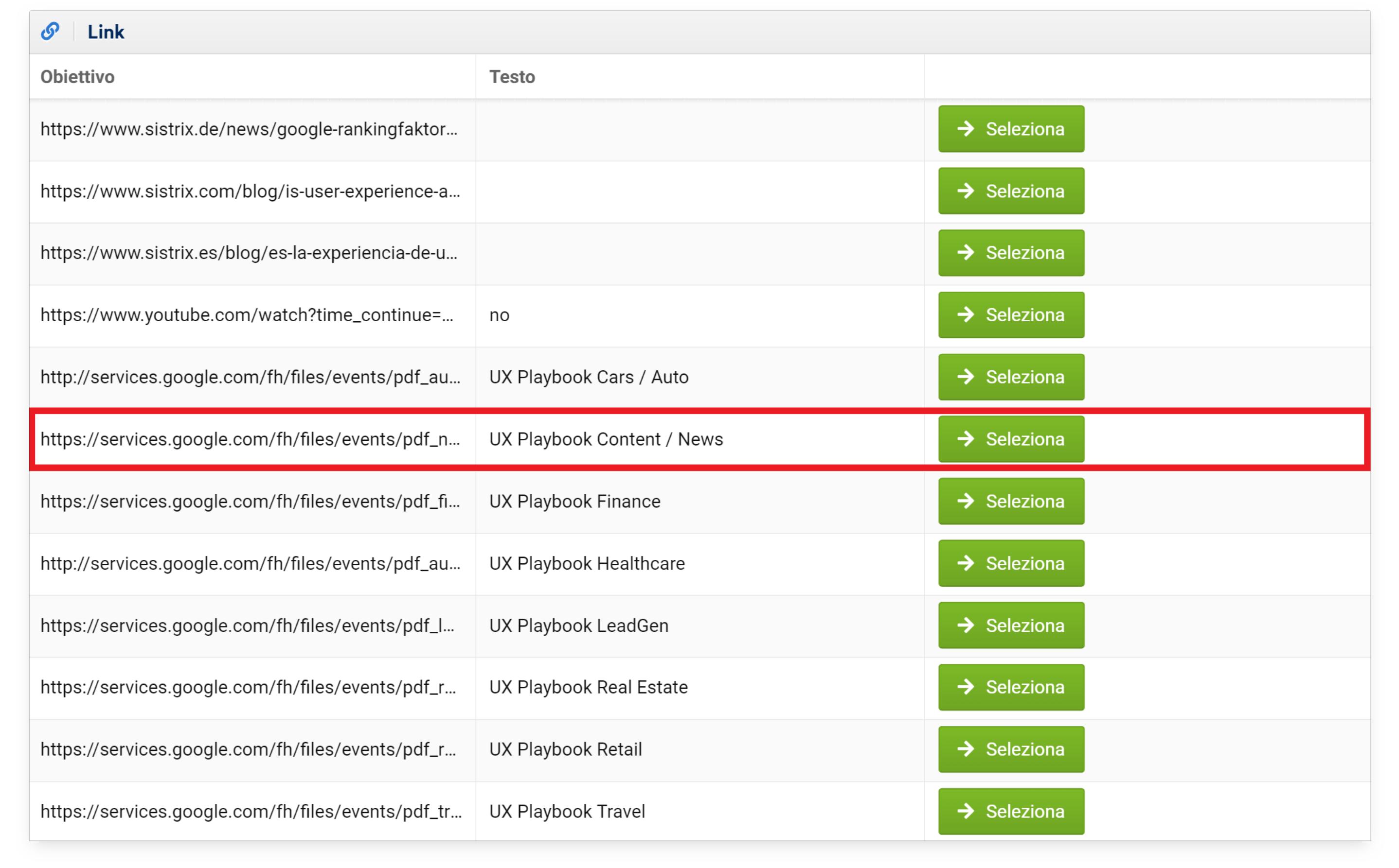 Aggiungere un nuovo link su LinkManager nel Toolbox SISTRIX