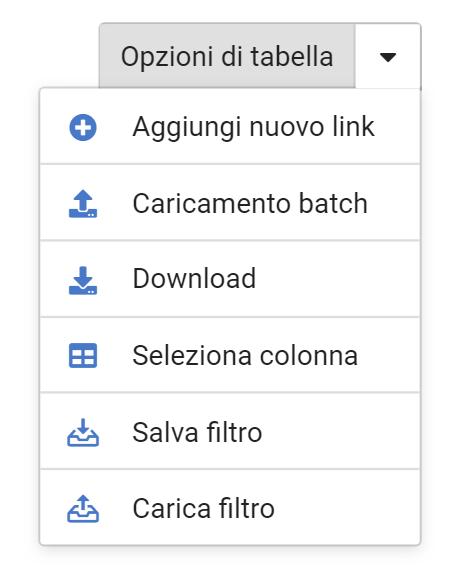 Opzioni della tabella LinkManager nel Toolbox SISTRIX