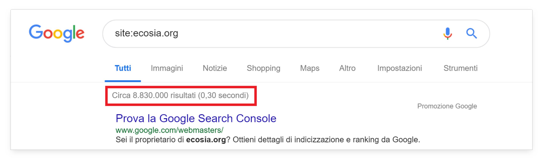 Numero di pagine indicizzate di ecosia.org al momento