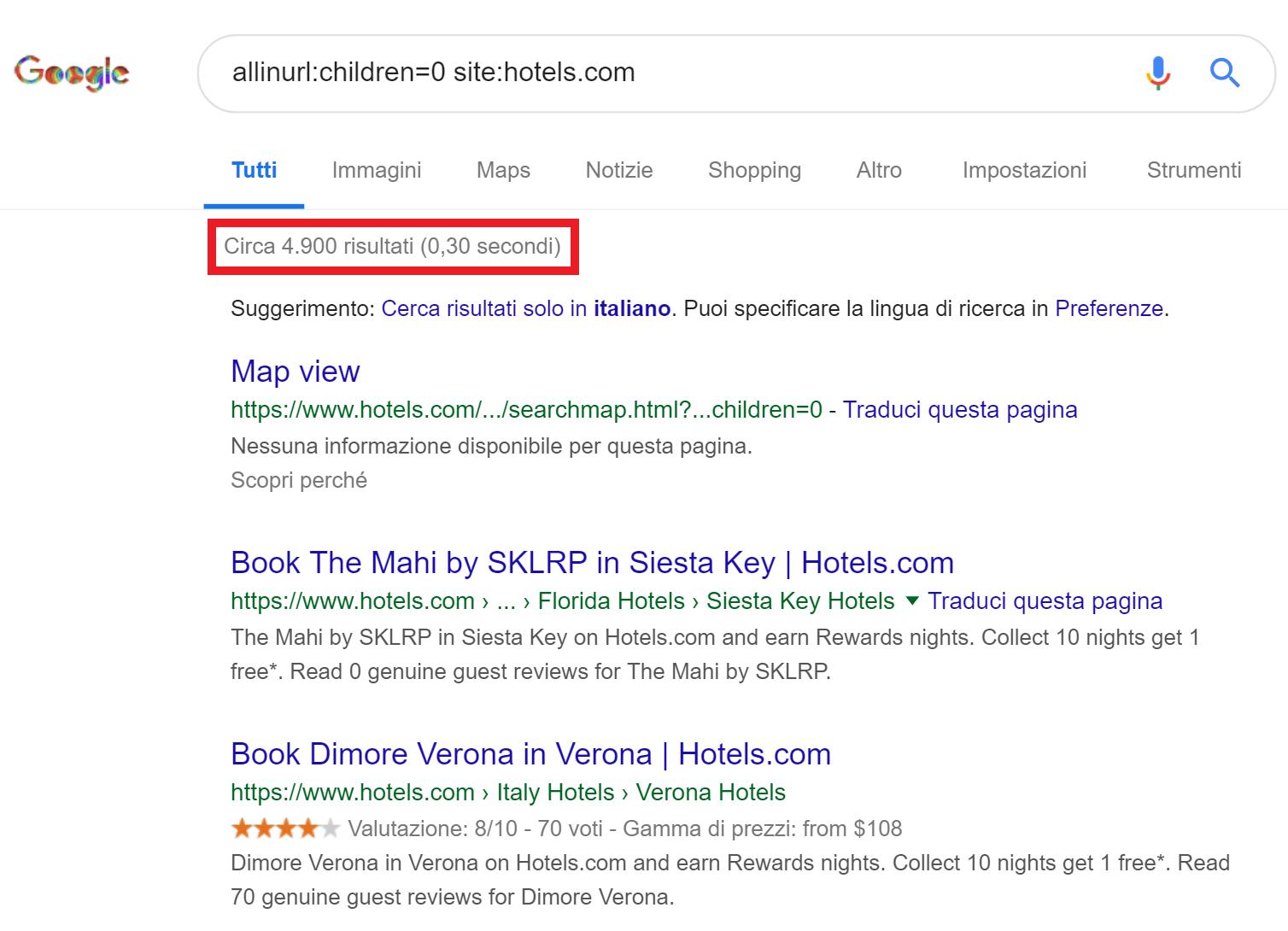 SERP hotels.com