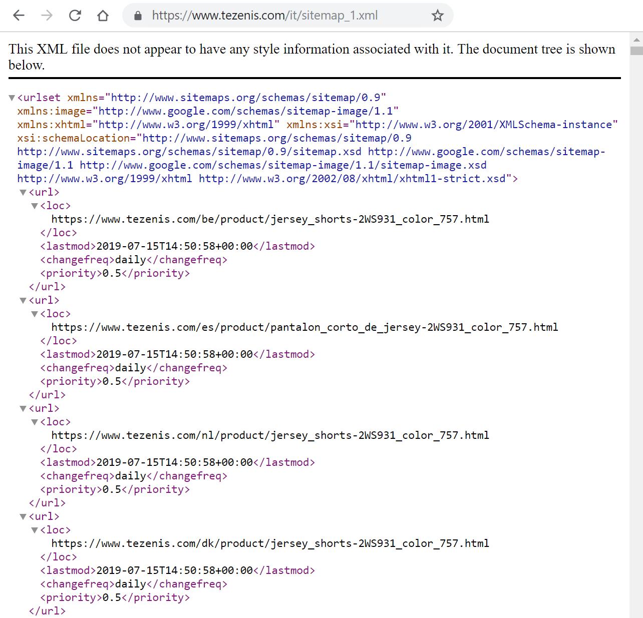 Esempio sitemap xml