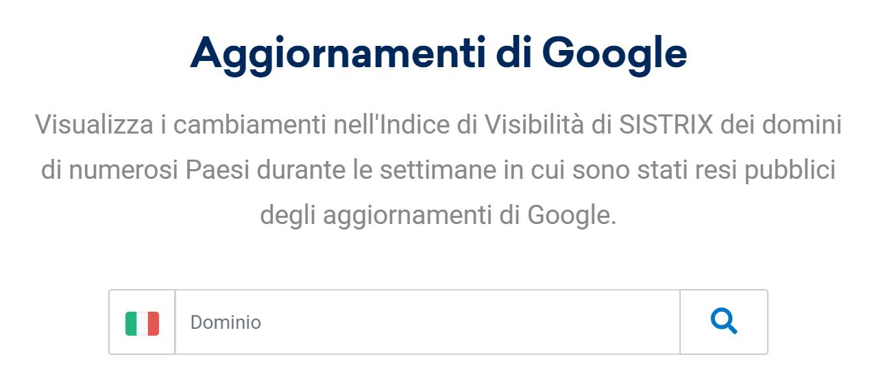 Tool di SISTRIX Google Update Checker.
