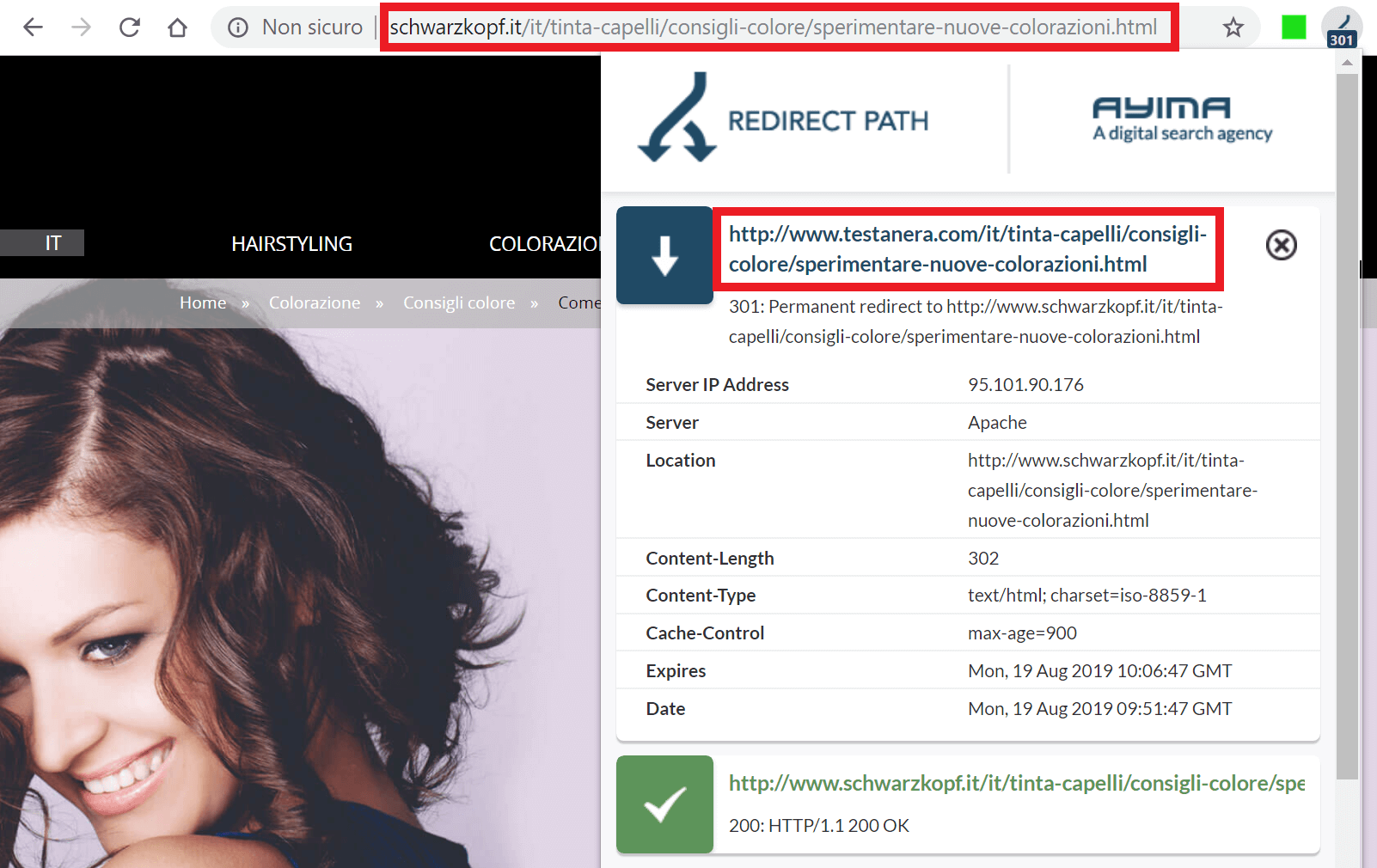 Ayima mostra che l'URL di testanera.com è stato reindirizzato a schwarzkopf.it