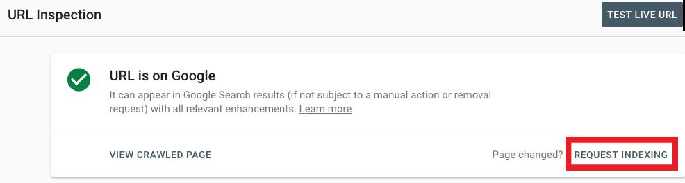"""""""Richiedi indicizzazione"""" su Google Search Console"""