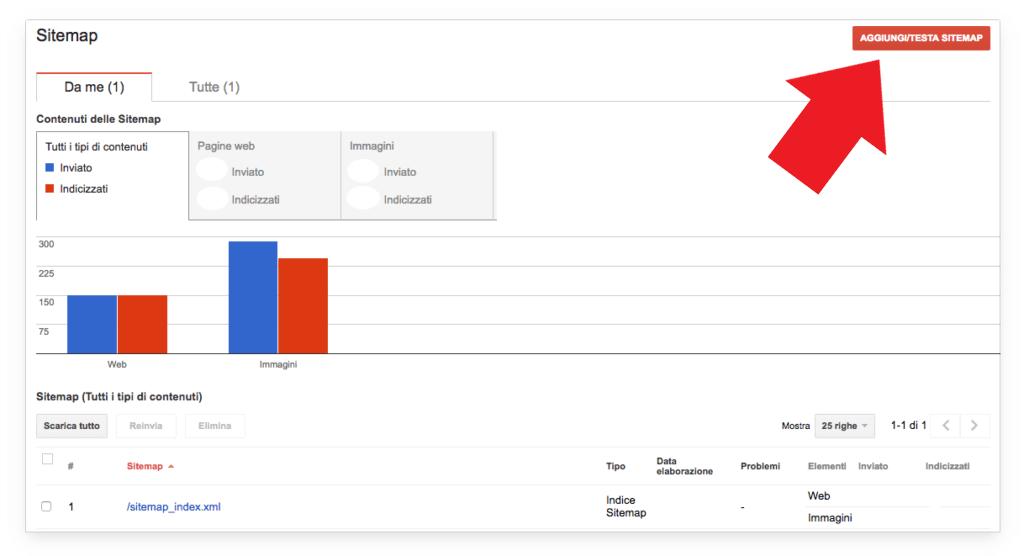 """Google Search Console: usa l'opzione """"Testa sitemap"""" per controllare che non vi siano errori"""