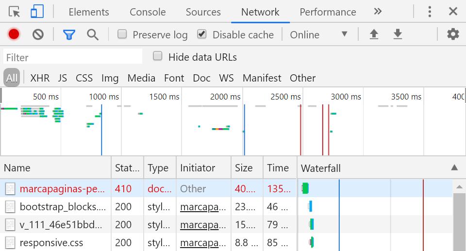 Sezione network negli strumenti per gli sviluppatori