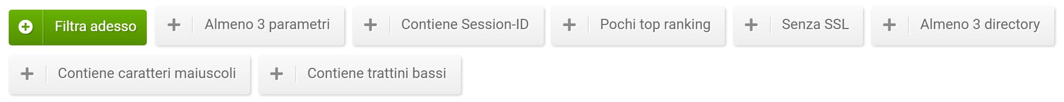 Filtri della sezione URL