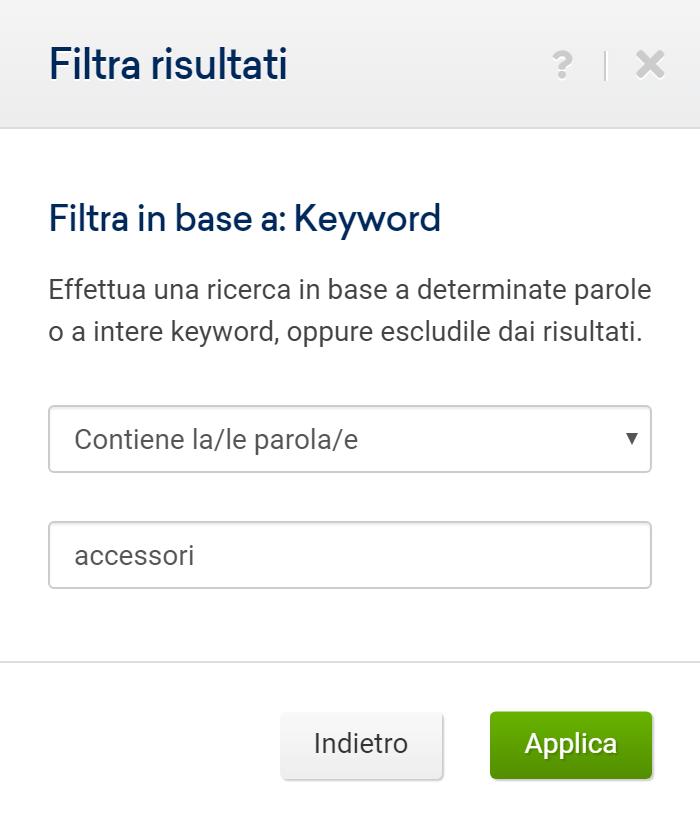 Toolbox SISTRIX: filtro per keyword