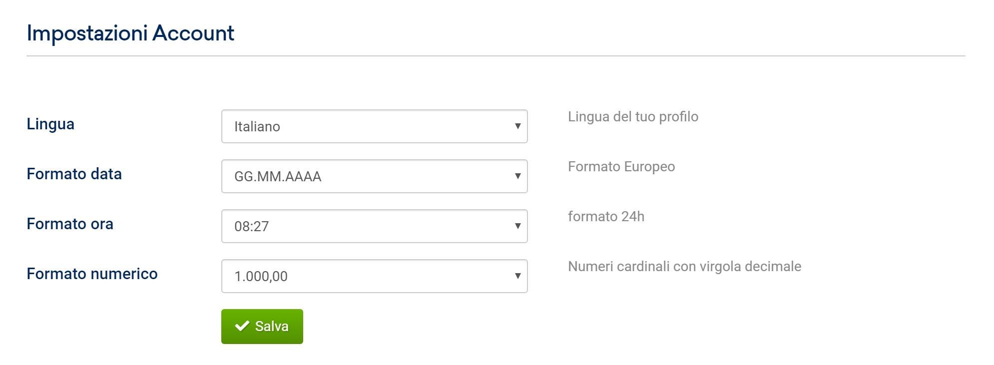 Impostazioni account base nel Toolbox SISTRIX