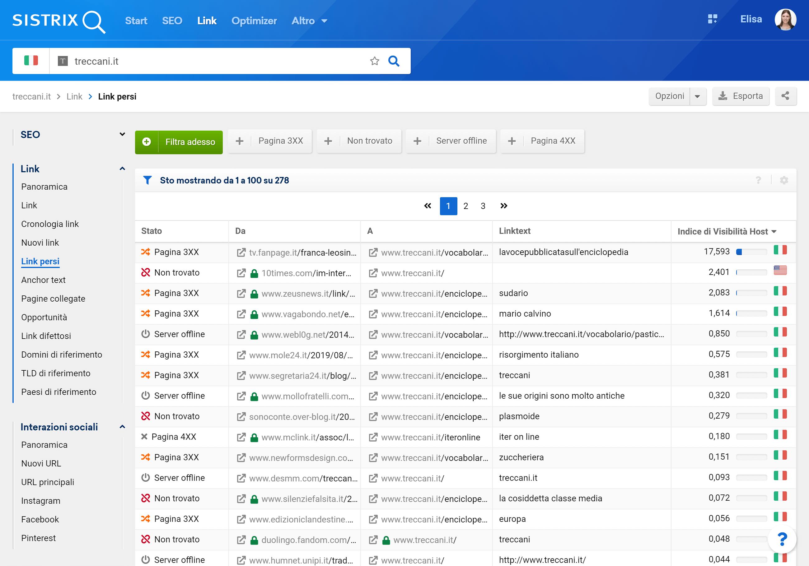 Toolbox SISTRIX: link persi di treccani.it