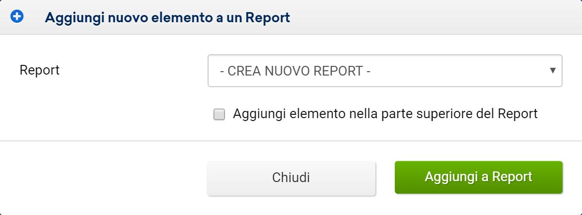 Riquadro per aggiungere un elemento ad un report nel Toolbox SISTRIX